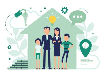 New house for a family. Happy people moving into flat, rent apartment, getting own home after purchase or mortgage, real estate property business. Vector abstract illustration with faceless character