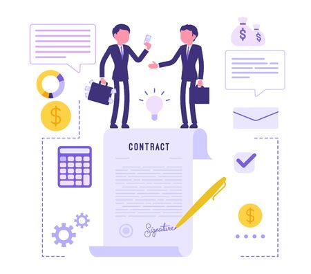 Businessmen making contract agreement. Male managers signing legal document for corporate partnership, making business deal to start new project. Vector abstract illustration with faceless character