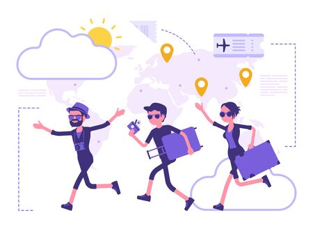 Travelling people take a trip. Group of tourists with luggage in a hurry to plane for air travel, running aircraft passengers. Vector abstract illustration with faceless character, map background