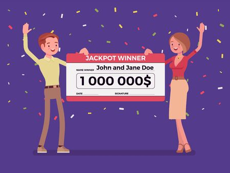 Winning lottery ticket, happy pair holding giant check. Successful couple celebrating chance event of getting first prize, good luck to achieve large money fund. Vector flat style cartoon illustration Ilustrace
