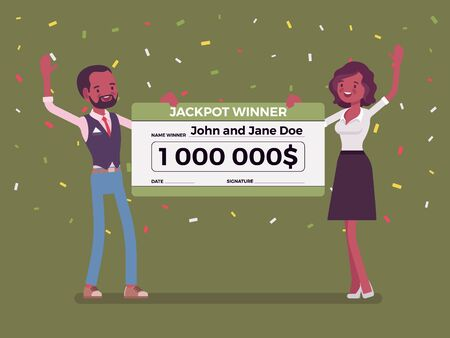 Winning lottery ticket, happy black pair holding giant check. Successful couple celebrating chance event of getting prize, good luck to achieve large money fund. Vector flat style cartoon illustration
