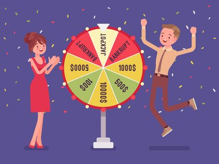 Winning jackpot, happy man successful in game show. Boy celebrating getting first prize, chance and luck to achieve large money fund, good fortune. Vector flat style cartoon illustration