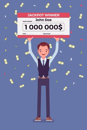 Winning lottery ticket, happy man holding giant check. Successful boy celebrating chance event of getting first prize, good luck to achieve large money fund. Vector flat style cartoon illustration Ilustrace