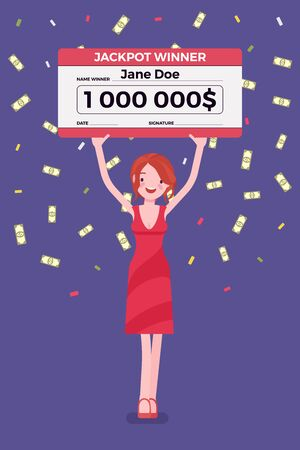 Winning lottery ticket, happy woman holding giant check. Successful boy celebrating chance event of getting first prize, good luck to achieve large money fund. Vector flat style cartoon illustration