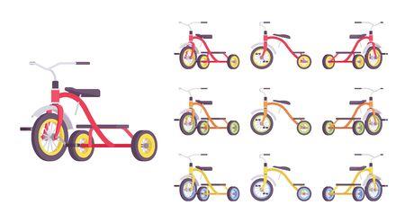 Dreirad Kinderfahrradset. Erstes Fahrzeug für junge Fahrer, kleines Dreirad, Sportgerät. Vector flache Karikaturillustration lokalisiert auf weißem Hintergrund, verschiedenen Ansichten und Farben