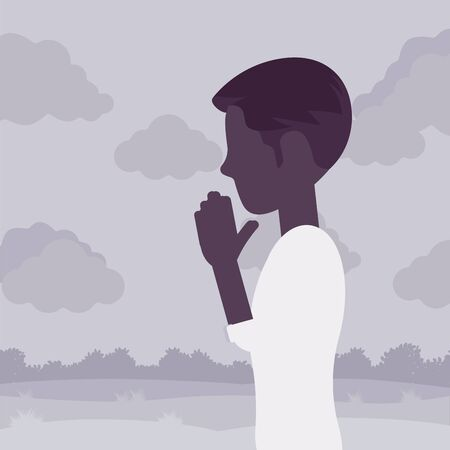 Man praying in namaste hand gesture. Guy in religious or spiritual ceremony feeling calm, peaceful and untroubled, addressing to God, method of relaxation. Vector illustration, faceless character Ilustrace