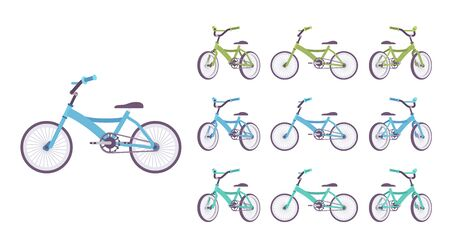 Kid bike set. Bicycle, vehicle with two wheels, bright sporty bike for boys and girls for active fun. Vector flat style cartoon illustration isolated on white background, different views and colors
