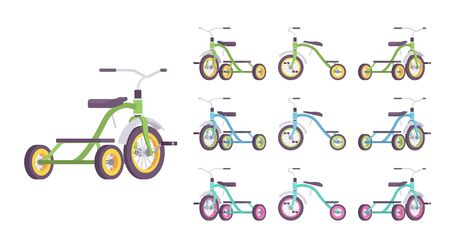 Tricycle kid bike set. First vehicle for young riders, small three-wheeled bicycle, sport equipment. Vector flat style cartoon illustration isolated on white background, different views and colors