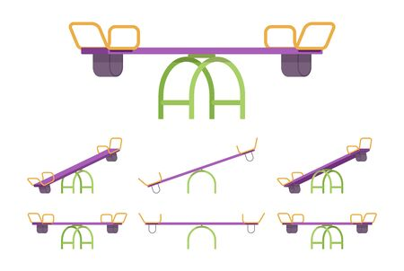 Seesaw set for playground equipment. Teeter-totter garden or park fun and outdoor recreation for kids, toddlers. Vector flat style cartoon illustration isolated on white background, different views