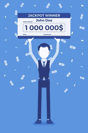 Winning lottery ticket, happy man holding giant check. Successful boy celebrating chance event of getting first prize, good luck to achieve large money fund. Vector illustration, faceless character