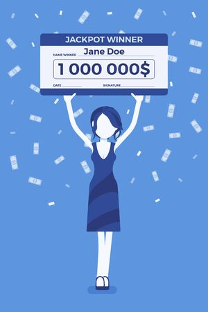 Winning lottery ticket, happy woman holding giant check. Successful boy celebrating chance event of getting first prize, good luck to achieve large money fund. Vector illustration, faceless character