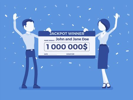 Winning lottery ticket, happy pair holding giant check. Successful couple celebrating chance event of getting first prize, good luck to achieve large money. Vector illustration, faceless characters
