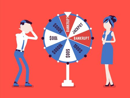 Bankrupt, unhappy man losing in game show. Guy in stress and worry in financial problems, loss of money after business risk, negative gamble rsult. Vector illustration, faceless characters Ilustrace