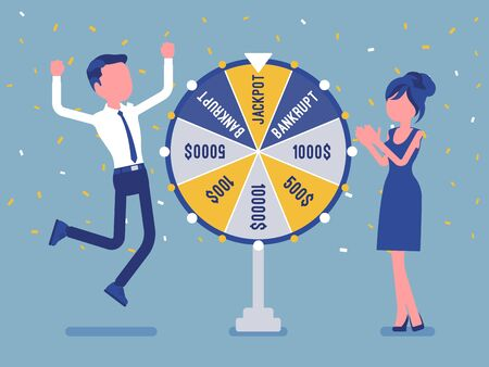 Winning jackpot, happy man successful in game show. Boy celebrating getting first prize, chance and luck to achieve large money fund, good fortune. Vector illustration, faceless characters