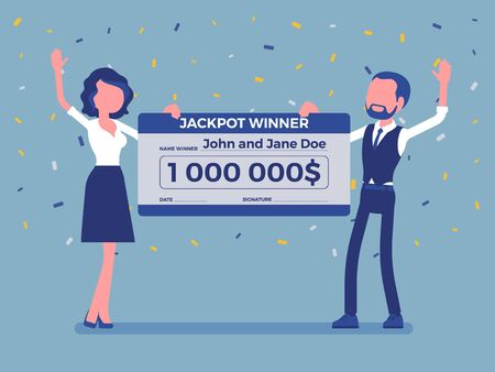 Winning lottery ticket, happy pair holding giant check. Successful couple celebrating chance event of getting prize, good luck to achieve large money fund. Vector illustration, faceless characters