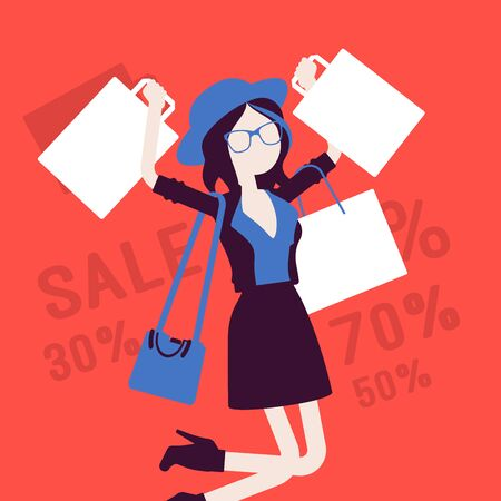 Sale for happy girl. Young woman enjoys shopping, carrying out purchases bags, consumer spends money buying at lower price. Vector illustration with faceless character, discount percentage background