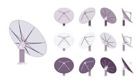 Satellite antenna set. Dish shaped information receiver, home equipment for roof or wall mount to capture tv signal. Vector flat style cartoon illustration isolated, white background, different views