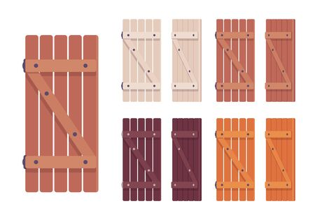 Wooden shutter set. Rustic cottage design and home security, house protecting architecture element. Vector flat style cartoon illustration isolated on white background, different views and colors Ilustrace