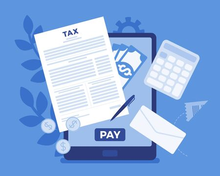 Online tax payment via tablet. Electronic service for taxpayers to pay individual income and business taxes, convenience e-Payment facilitates, mobile system. Vector flat style cartoon illustration Ilustrace