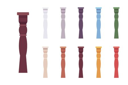 Column baluster set. Spindle, short pillar for decorative design elements, stairway railing, exterior decor. Vector flat style cartoon illustration isolated on white background, different vivid colors Stock Illustratie