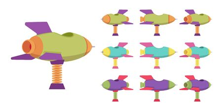 Rocket spring rider playground set, bouncy spaceship, outdoors playing device. Children ride on toy. Vector flat style cartoon illustration isolated on white background, different views and colors