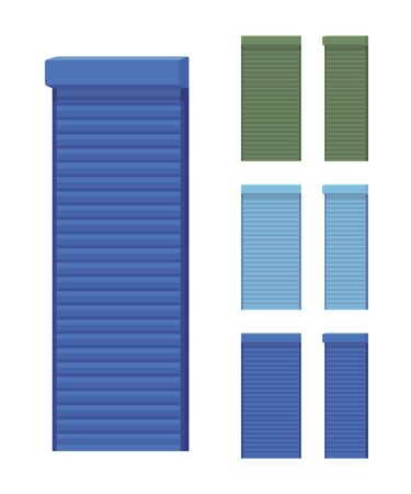 Security metal shutter set for home. House privacy and personal confidence, cottage solar roller shades. Vector flat style cartoon illustration isolated on white background, different views and colors