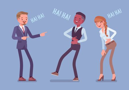 Business people joking, laughing. Businessmen and businesswoman being in a good mood, enjoy funny office story or trick, employee humour for amusement at work, Vector flat style cartoon illustration