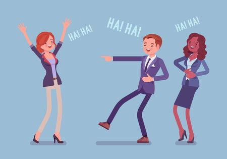 Business people joking, laughing. Businessman and businesswomen being in a good mood, enjoy funny office story or trick, employee humour for amusement at work, Vector flat style cartoon illustration