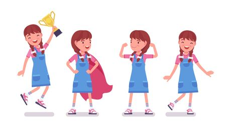 Girl child 7 to 9 years old, positive female school age kid. Happy strong schoolgirl with prize enjoying trophy, sport achievements. Vector flat style cartoon illustration isolated on white background