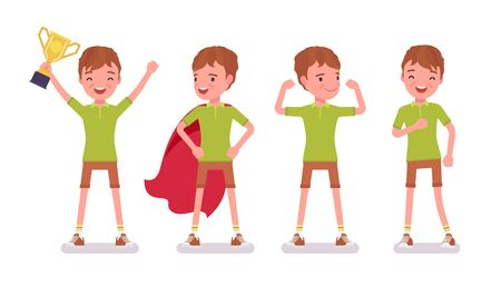 Boy child 7 to 9 years old, positive male school age kid. Happy strong schoolboy with prize enjoying trophy and sport achievements. Vector flat style cartoon illustration isolated on white background Illustration