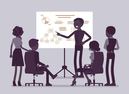 Business briefing in office. Meeting for employees, new project information and instruction, managers brainstorming, negotiating about agreement or contract. Vector illustration, faceless characters Ilustrace