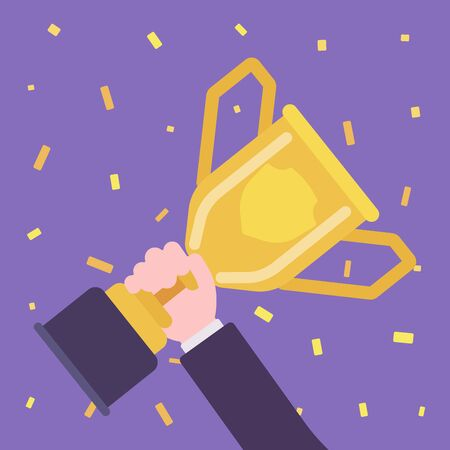 Champion cup trophy in winner hand. Person wins an award, first prize given for sport, business competition, victory or conquest result. Vector flat style cartoon illustration, confetti background  イラスト・ベクター素材
