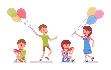 Boy and girl child 7 to 9 years old, school age kid activity and fun. Children enjoy eating watermelon, holding bright air balloons. Vector flat style cartoon illustration isolated, white background