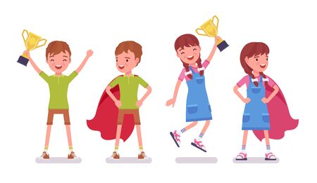 Boy, girl child 7 to 9 years old, active school age kid wearing red hero cloak with prize enjoying trophy and sport achievements. Vector flat style cartoon illustration isolated on white background Ilustrace