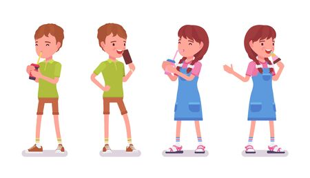 Boy, girl child 7 to 9 years old, active school age kid wearing summer outfit standing, drinking soda water, enjoy eating icecream. Vector flat style cartoon illustration isolated on white background