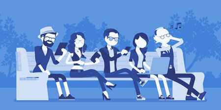 Young people with gadgets on bench. Diverse group sitting using smartphone, tablet, laptop, take photos and record video. Vector illustration with faceless characters