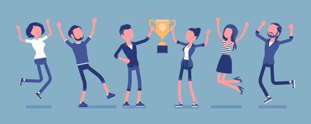 Winner team with business trophy. Happy employees winning on training and coaching competition, corporate championship victory. Vector illustration with faceless characters Illustration