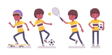 Boy child 7 to 9 year old, black male school age kid sport activity. Happy strong schoolboy playing football, tennis, skateboarding. Vector flat style cartoon illustration isolated on white background