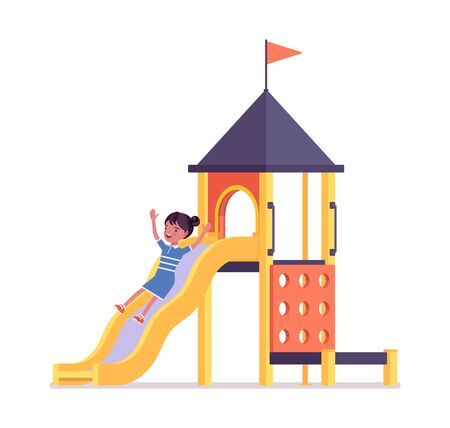 Girl child 7, 9 year old, active black school age kid sliding down. Active schoolgirl enjoys fun, entertainment playing on playground. Vector flat style cartoon illustration isolated, white background