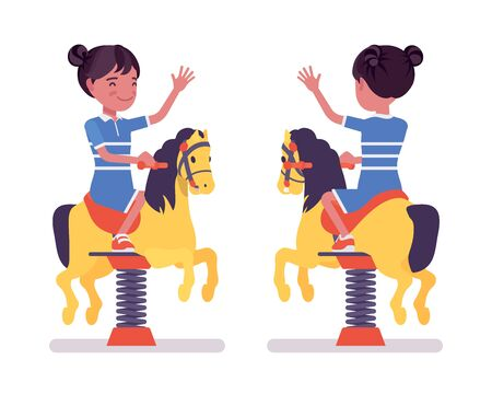 Girl child 7, 9 yo school black kid, horse spring rider. Active schoolgirl and bouncy pony fun, entertainment playing on playground. Vector flat style cartoon illustration isolated, white background