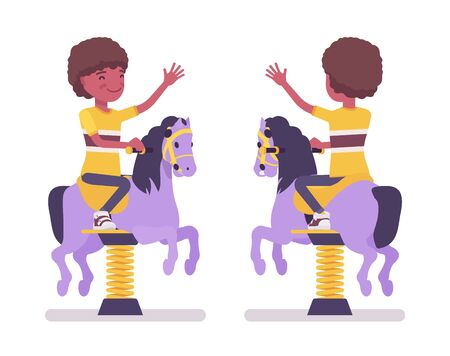 Boy child 7, 9 yo school age black kid at horse spring rider. Schoolboy enjoys bouncy pony fun, entertainment playing on playground. Vector flat style cartoon illustration isolated, white background