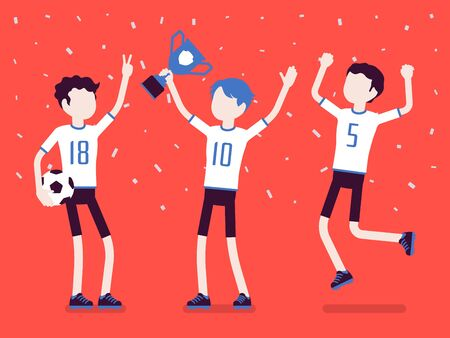 Football winner team with trophy. Young happy male athletes in uniform celebrating victory, group of players holding prize after successful sport match. Vector illustration with faceless characters