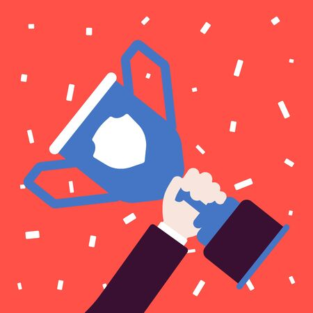 Champion cup trophy in winner hand. Person wins an award, first prize given for sport, business competition, victory or conquest result. Vector flat style cartoon illustration, confetti background Çizim