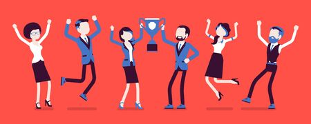 Winner team with business trophy. Happy employees winning on training and coaching competition, corporate championship victory. Vector illustration with faceless characters Illusztráció