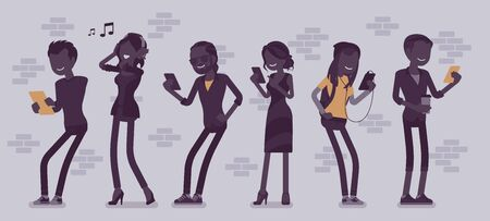 People with gadgets standing using smartphone to call, play games, watch movies, listen to music, communicate with friends via text messages, video chats. Vector illustration with faceless characters