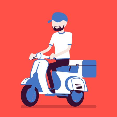 Scooter delivery boy. Courier service worker delivers food, order or parcel to customer, online ordering express city shipping. Vector illustration with faceless character Иллюстрация