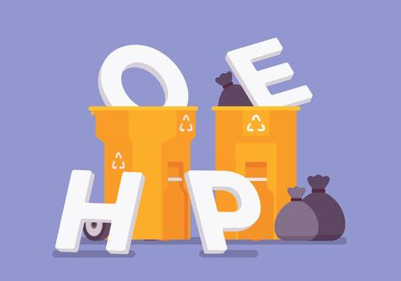 Hope letters put it in the trash bin. Metaphor of lost optimism, expectation and desire, stop believing in worthless or useless dream, refuse waiting for help. Vector flat style cartoon illustration