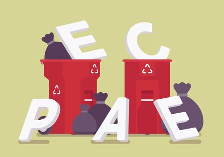 Peace letters in a trash. Metaphor of broken agreement, starting war struggle, clash between opposing forces, new battle, fighting and active disagreement. Vector flat style cartoon illustration