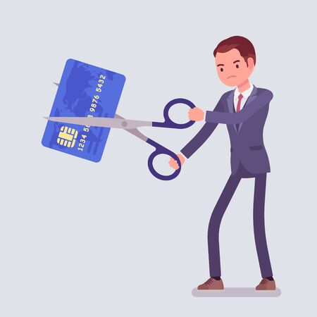 Rate cut businessman. Man cutting with giant scissors a credit card, angry with collapse and business recession, financial crisis or major economic problems. Vector flat style cartoon illustration Illusztráció