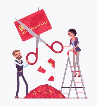 Rate cut credit card. Man and woman cutting with giant scissors, banking panics when economy is in a slump, big recession and disturbance to financial markets. Vector flat style cartoon illustration